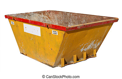 Old building site skip, isolated on a white background.