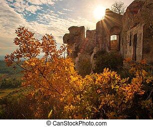 Old building wall in Les Baux-de-Provence, France