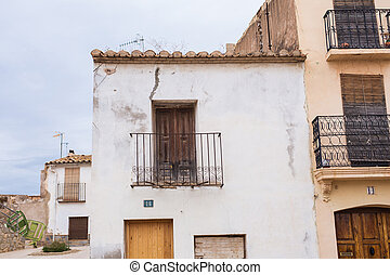Old building with a vintage balconies in Spain