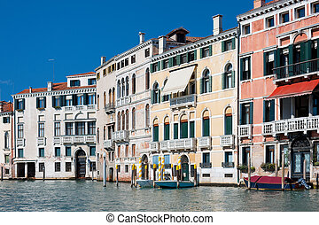 Old buildings along the Grand Canal in Venice