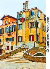 Old buildings and bridge in Venice