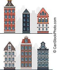 Old buildings. Antique european constructions vintage urban facades in flat style garish vector exterior designs