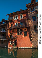 Old buildings at the city center of Annecy.