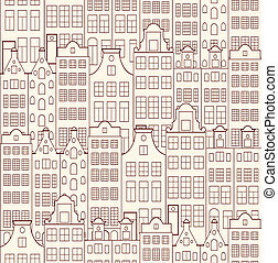 old buildings - Vector illustration of seamless pattern with...