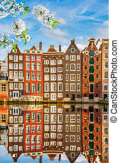 Old buildings in Amsterdam at spring