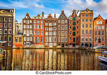 Old buildings in Amsterdam - Traditional old buildings in ...