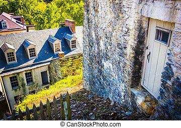 Old buildings in Harpers Ferry, West Virginia.