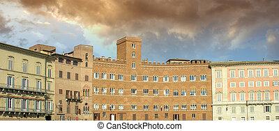 Old Buildings in Piazza del Campo - Siena
