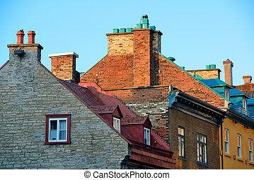 Old buildings in Quebec City - Old buildings roof in Quebec...