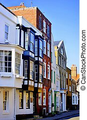 Old Buildings in Southampton - With their windows glowing in...