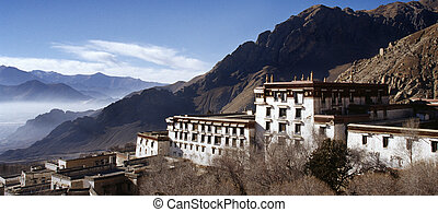 Old buildings in the Buddhist Drepung Monastery, Tibet.