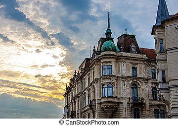 Old buildings in the city of Ljubljana during sunrise