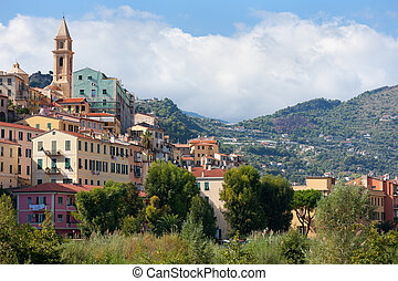 Old buildings of Ventimiglia, Italy. GPS information is in...