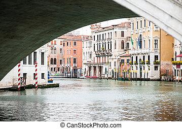 Old Buildings on Grand Canal Under Rialto Bridge in Venice.
