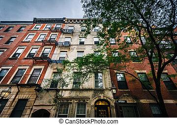 Old buildings on Myrtle Street in Beacon Hill, Boston, Massachusetts.