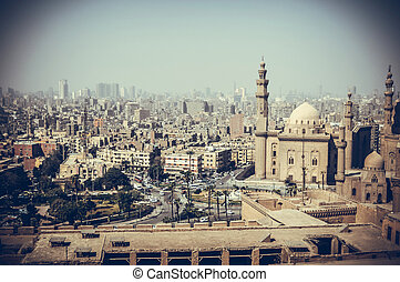 old buildings with mosque at cairo , egypt