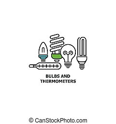 Old bulbs and thermometers recycle concept icon in line design, vector flat illustration isolated on white background