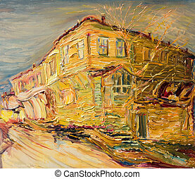 An oil painting on canvas of a colorful old bulgarian house painted in golden colors in the end of the autumn.