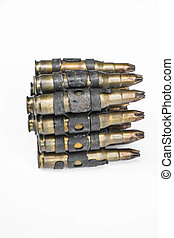 Old bullets on white background