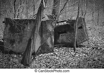 old bunker parts of second world war
