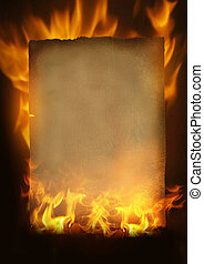 Old burning paper - Vintage Paper in  flames and fire