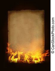 Old burning paper - Vintage Paper withhot flames and fire