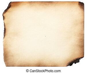 Old burnt paper, isolated over white background