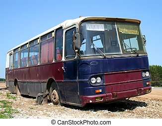 Old bus - An old purple and blue bus