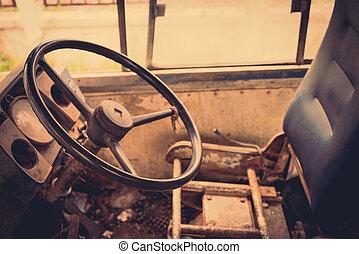 Old bus interior ( Filtered image processed vintage effect. )