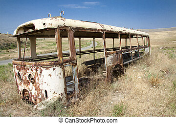 Old bus on the meadow