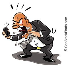 Old Business man angry at phone