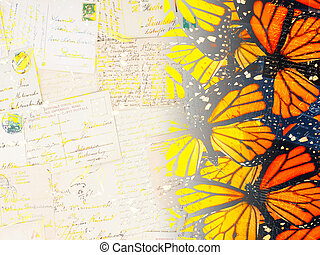 old butterfly postcard