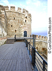 Old byzantine fortification at Thessaloniki city in Greece