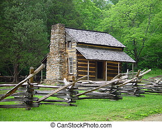 Old Cabin - An old Appalachian cabin with a split rail...
