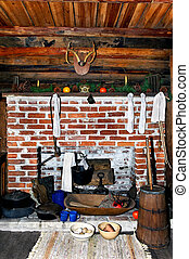 Old Cabin Christmas Fireplace