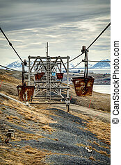 Old cable car for coal transportation HDR