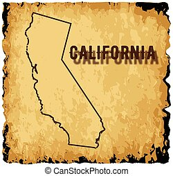 Old California Map - A parchment background with an outline...