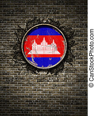 Old Cambodia flag in brick wall