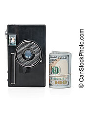 Old camera and a bundle of money