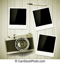 Old camera and photos lie on a wooden table. Stock vector illust