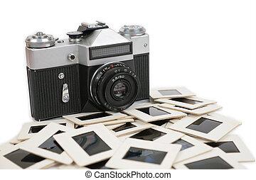 old camera and slides