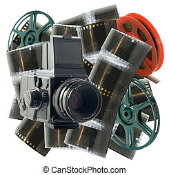 old camera, films and reels on a white background