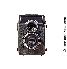 old camera Isolated on white background, vintage style. Old ...