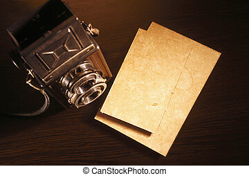 old camera - old photo and Twin-Lens Reflex camera