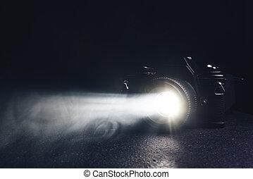 old camera on a black background
