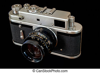 Old Camera on Black background