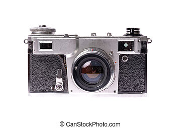 Old camera on isolated white