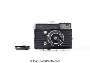 Old camera on white background. Flat lay, Top view .