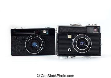 old camera on white background .