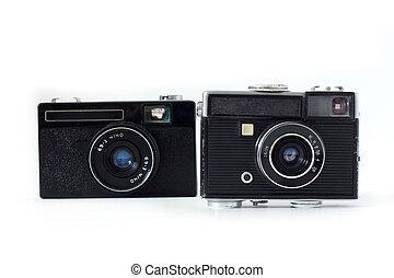 old camera on white background .